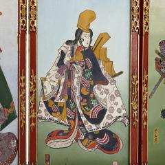 Antique Japonisme wooden folding screen with five panels - 1683170