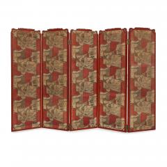 Antique Japonisme wooden folding screen with five panels - 1683198
