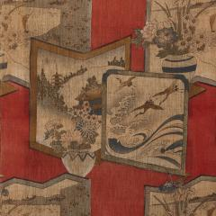 Antique Japonisme wooden folding screen with five panels - 1683211