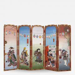 Antique Japonisme wooden folding screen with five panels - 1685095