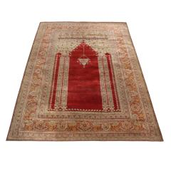 Antique Kayseri Crimson Beige Geometric Floral Rug - 1158045