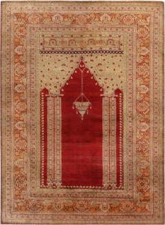 Antique Kayseri Crimson Beige Geometric Floral Rug - 1159972