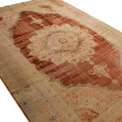 Antique Kerman Copper Brown Beige Silk Persian Rug - 1158141