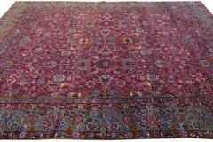 Antique Kerman Persian Handmade Allover Floral Red Wool Rug - 2137842