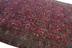 Antique Kerman Persian Handmade Allover Floral Red Wool Rug - 2137844