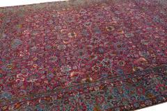 Antique Kerman Persian Handmade Allover Floral Red Wool Rug - 2137845