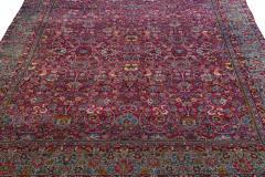 Antique Kerman Persian Handmade Allover Floral Red Wool Rug - 2137846