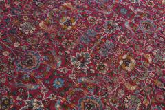 Antique Kerman Persian Handmade Allover Floral Red Wool Rug - 2137848