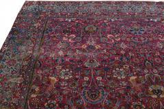 Antique Kerman Persian Handmade Allover Floral Red Wool Rug - 2137849