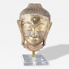 Antique Lacquered Wood Buddha Head Statue from Southeast Asia - 96394