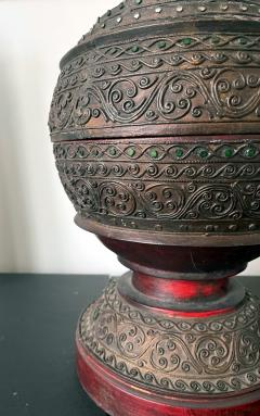 Antique Lacquered Wood Offering Vessel Thailand - 1905181