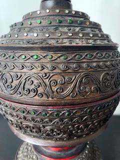 Antique Lacquered Wood Offering Vessel Thailand - 1905182