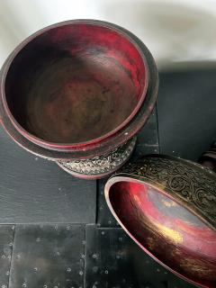 Antique Lacquered Wood Offering Vessel Thailand - 1905185