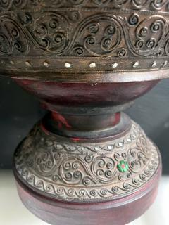 Antique Lacquered Wood Offering Vessel Thailand - 1905186