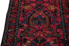 Antique Lilihan Handmade Allover Floral Motif Red Wool Runner - 2139731