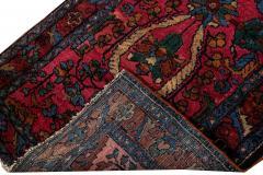 Antique Lilihan Handmade Allover Floral Motif Red Wool Runner - 2139732