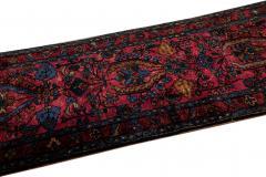 Antique Lilihan Handmade Allover Floral Motif Red Wool Runner - 2139735