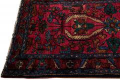 Antique Lilihan Handmade Allover Floral Motif Red Wool Runner - 2139736