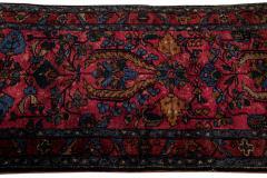 Antique Lilihan Handmade Allover Floral Motif Red Wool Runner - 2139737
