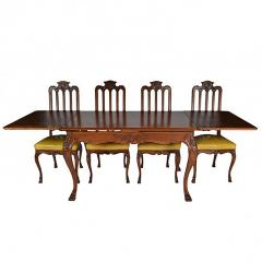 Antique Louis XIV Oak Dining Table and Six Chairs - 163453