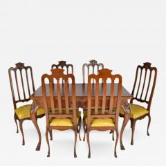 Antique Louis XIV Oak Dining Table And Six Chairs   166058