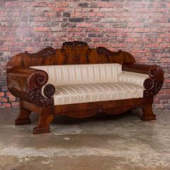 Antique Mahogany Biedermeier Sofa with Dramatic Carved Cornucopia Arms - 919488