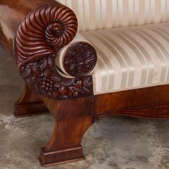 Antique Mahogany Biedermeier Sofa with Dramatic Carved Cornucopia Arms - 919491