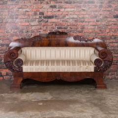 Antique Mahogany Biedermeier Sofa with Dramatic Carved Cornucopia Arms - 919492
