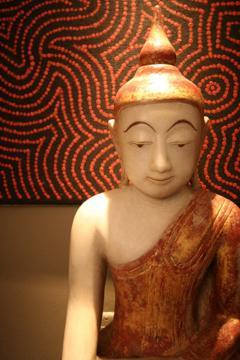 Antique Marble Seated Buddha Statue Burma Southeast Asia - 88611