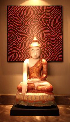 Antique Marble Seated Buddha Statue Burma Southeast Asia - 88612