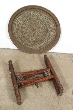 Attractive Antique Middle Eastern Brass Tray Table   368754