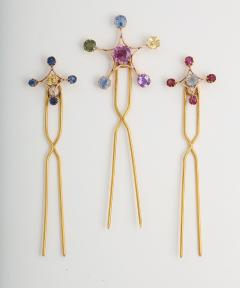 Antique Multi Color Sapphire Hair Pins Brooches in 18K Gold - 85572