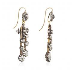Antique N glig e Style Diamond Earrings in Silver Topped Gold - 1187795