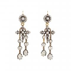 Antique N glig e Style Diamond Earrings in Silver Topped Gold - 1187896