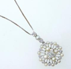 Antique Natural Oriental Pearl and Diamond Pendant - 1141491