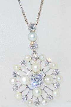 Antique Natural Oriental Pearl and Diamond Pendant - 1141495