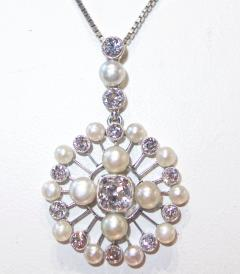 Antique Natural Oriental Pearl and Diamond Pendant - 1141496
