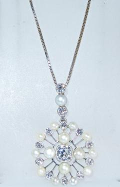 Antique Natural Oriental Pearl and Diamond Pendant - 1141499