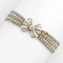 Antique Natural Pearl and Diamond Bow Bracelet - 325460