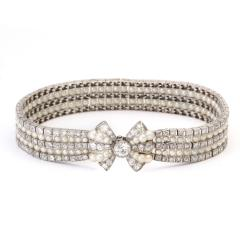 Antique Natural Pearl and Diamond Bow Bracelet - 325461