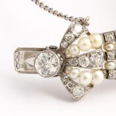 Antique Natural Pearl and Diamond Bow Bracelet - 325465