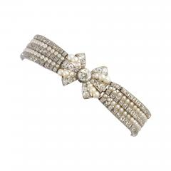 Antique Natural Pearl and Diamond Bow Bracelet - 325975