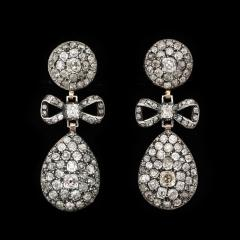 Antique Old Mine Diamond Drop Earrings - 1221546