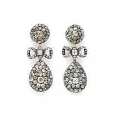 Antique Old Mine Diamond Drop Earrings - 1221621
