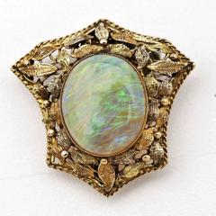 Antique Opal Brooch Pendant in 14Kt Gold Victorian Frame - 150418
