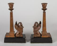 Antique Pair of English Egyptian Revival Candlesticks - 1246925