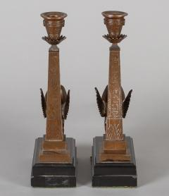 Antique Pair of English Egyptian Revival Candlesticks - 1246926