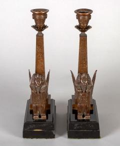 Antique Pair of English Egyptian Revival Candlesticks - 1246927