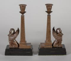 Antique Pair of English Egyptian Revival Candlesticks - 1246929