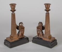 Antique Pair of English Egyptian Revival Candlesticks - 1246930